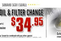 Autonation Chevrolet Oil Change Coupon Subaru Oil & Filter Change Service Special